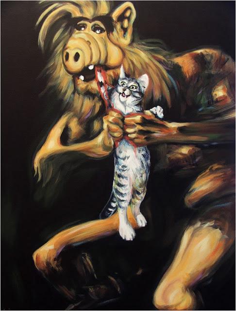 saturno Alf devorando a sus hijos gatitos version goya