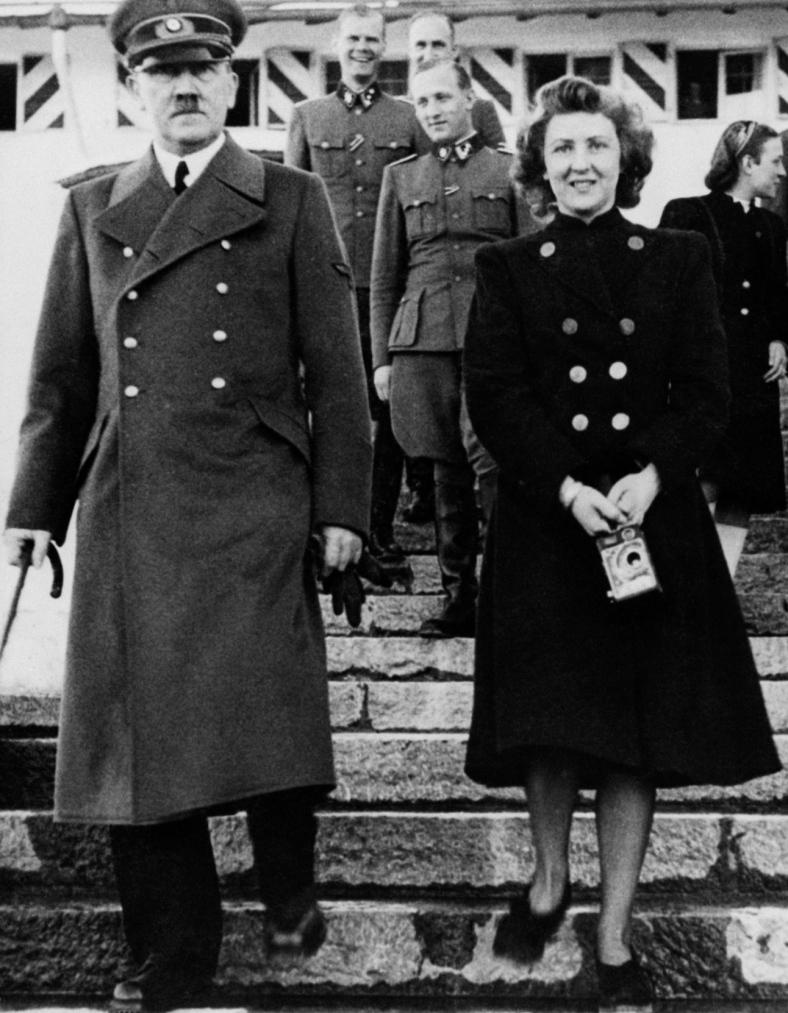 Original Caption: Adolf Hitler with Eva Braun. Undated Photo.
